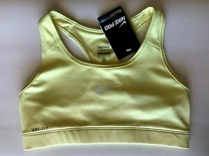 NEW NIKE PRO [M] Women DRI-FIT Medium Support Sports Bra-Pale Yellow 375833-333