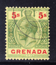 GRENADA GV 1921 SG100a 5/- green & red on pale yellow wmk MCA superb used cat£75
