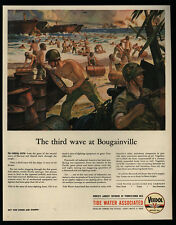 1944 WWII U.S. Marines VEEDOL Oil Bougainville - THOMPSON MACHINE GUN VINTAGE AD