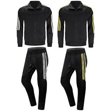 NEW Men Striped Track Suit Black Yellow Pants Jacket Joggers Slim Fit Zipper