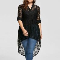 Women Blouse Shirt Tops Long Sleeve Casual V Neck Loose Sexy Plus Size Embroider