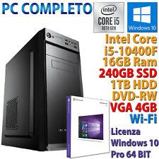 PC COMPUTER DESKTOP INTEL CORE i5-10400F RAM 16GB SSD 240GB HDD 1TB RX 550 WI-FI