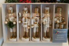 White & Gold Nutcracker Set Of 5 Christmas Tree Decorations Boxed Drummer Boy &&