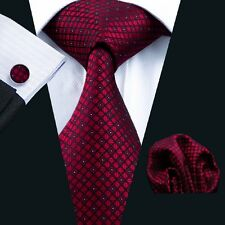 SN-704 Top Selling Red Checks Mens Tie Hanky Cufflinks Set Business Formal Gifts