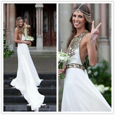 Bohemian Boho Chiffon A Line Beach Wedding Dress Bridal Gown Custom Size 4-26++