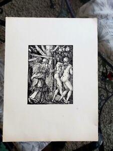 Albrecht Durer 3.7x4.9 plate signed engraving Adam and Eve fine detail 34