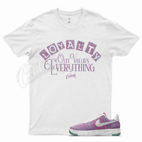 White LOYALTY T Shirt for Nike Air Force 1 One Crater Flyknit Pink Purple