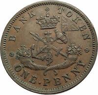 1857 UPPER CANADA Antique UK Queen Victoria Time PENNY BANK TOKEN Coin i75727