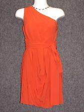 ALICE + OLIVIA Orange Ruched Draped One Shoulder Dress SZ 10 NEW