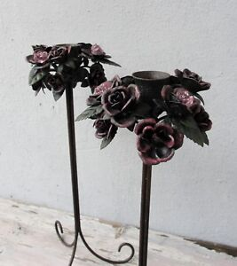 Floral Chandelier Duo, Two Candle Holders with Roses 1980's