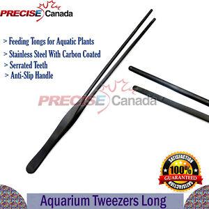 "Black Aquarium Tweezers 10"" Long Reptile Feeding Tongs for Aquatic Plant DS-1429"