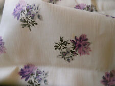 Antique French Roses Floral Dimity Cotton Fabric ~ Lavender Purple Gray Cream