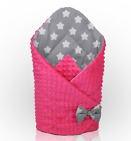 BABY SWADDLE WRAP NEWBORN DIMPLE INFANT BEDDING Pink-Big White Stars On Grey