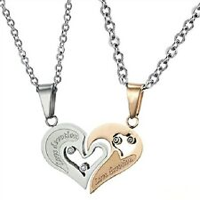 Fashion Stainless steel Puzzle crystal Heart love for him and her necklace