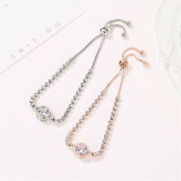Women Gold Color Rose Cubic Zirconia Bracelet Charm Bangles Fashion Jewelry Gift