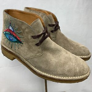 Gucci Mens Beige Suede Owl & UFO Embroided Ankle Boots 473023 SIZE 7.5G =8.5 US