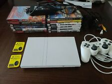 Sony Playstation 2 PS2 Slim Ceramic White SCPH-79001 W/ 12 games 2 memory cards