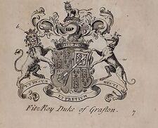 1779 ANTIQUE PRINT ~ Fitzroy ~ Family Crest Coat of Arms Duc de Grafton