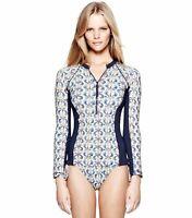 Tory Burch Blue Tamarin Seahorse Print Surf Shirt Rashguard L 8 10 Swim