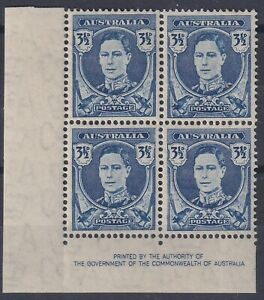 3½ Blue KGVI Imprint block with 'White Face' - BW 231c.