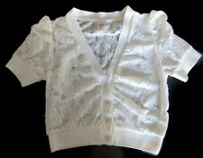 Miss Understood Girls Cream Lace Flower Top Cardigan Size 12