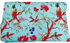 Kantha Quilt in Bird, Floral Bed Cover,Turquoise Quilt, Twin Quilt Blanket Throw