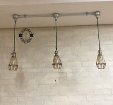 HEMSBY 3 X ANTIQUE BRASS STEEL CAGE HANGING CEILING TABLE LIGHT FITTING VINTAGE