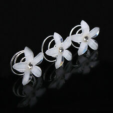 5*Resin Hair Spin Pins Twists Coils Five Petals Flower Swirl Spiral Hairpins