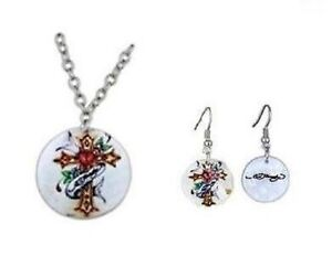 """Ed Hardy Mother Of Pearl Cross 18"""" Necklace & Earring Jewelry Set Free Shipping"""