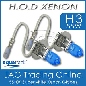 12V HOD XENON H3 55W 5500K SUPERWHITE HEADLIGHT CAR/AUTO/4x4 WHITE BULBS/GLOBES