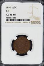 1850 Half Cent Braided Hair 1/2C C-1 NGC AU55 BN