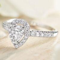 14k White Gold Finish Halo Engagement Ring 2.00 Ct Pear & Round Cut Diamond