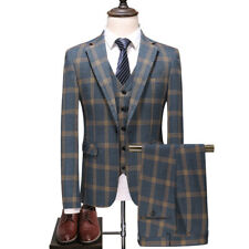 Men Blue Plaid Suit Groom Tuxedos Dinner Party Prom Formal Wedding Suit Custom