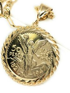 """Gold Pl Coin Centenario Mexicano Moneda 50 Pesos Pendant Chain Oro Cadena 26"""""""