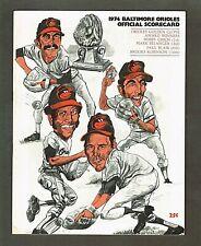 1974 Baltimore Orioles Program & Scorecard vs New York Yankees; Unscored