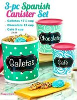 3 pc Tupperware Spanish Mexican Canister Set Galletas 17 Choc 12 & Cafe 5 Cups