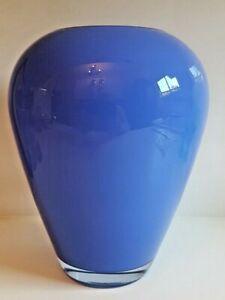 VINTAGE ART GLASS VASE - LARGE - BLUE - STUNNING