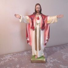 "Vintage Religious Statues Sacred Heart of Jesus 12"" Columbia Altar Statuary"