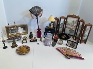 Vintage Asian Themed Decor Lot Many Artisan Dollhouse Miniatures 1:12