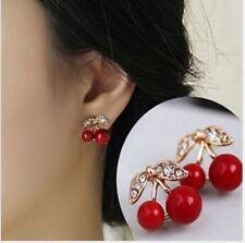 1 Paar Ohrringe Kirsche Ohrstecker Rockabilly Cherry Strass Ohrschmuck Mode