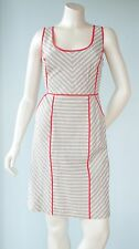 Anthropologie Beth Bowley Size 6 Taupe Cream Striped Nautical Cutout Dress