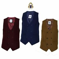 Mens Marc Darcy Double Breasted Waistcoat Plain Tweed Lined Formal Smart Casual