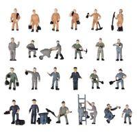 25 Stk Bemalte Figuren 1:87 Figuren Eisenbahner Miniaturen mit Eimer und Le X3Q2
