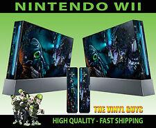 NINTENDO Wii Adesivo Cyber Punk MASCHERA ANTIGAS DARK GOTHIC SKIN e 2 SKIN PER PAD