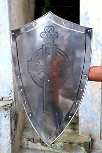 "Medieval Reproduction Templar Armor Shield Solid Steel 32"" knight Armor shield"