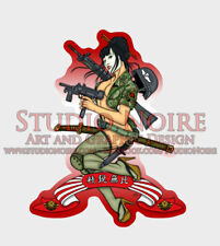 Japanese Army Special Forces Military Art Sexy Pinup Girl Large Vinyl Sticker