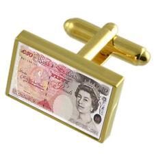 Money £ 50 Pound Nota Gold-Tone Gemelli Nero Sacchetto