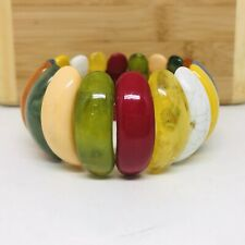 VTG Plastic Bracelet Multi Colored Chucky Wide Domed Elastic Funky Fun