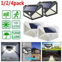 100LED Solar Luz de Pared Sensor movimiento Impermeable Exterior Jardín Lámpara