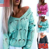 Women's Long Sleeve V Neck Knitted Jumper Sweater Ladies Pullover Blouse Tops US